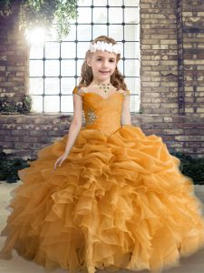 Exquisite Orange Organza Lace Up Straps Sleeveless Floor Length Glitz Pageant Dress Beading and Ruffles and Pick Ups