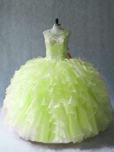 Amazing Floor Length Yellow Green Quinceanera Gown Scoop Sleeveless Lace Up