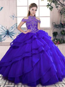 Chic Blue Lace Up Quinceanera Gown Beading and Ruffles Sleeveless Floor Length