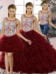 Modern Sleeveless Lace Up Floor Length Beading and Ruffles Quinceanera Dresses
