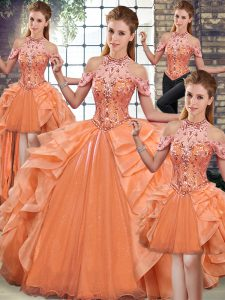 Luxury Orange Sleeveless Beading and Ruffles Floor Length Quince Ball Gowns