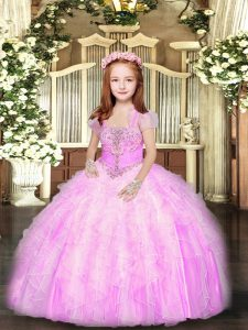 Lilac Sleeveless Tulle Lace Up Pageant Dress for Party and Sweet 16 and Wedding Party