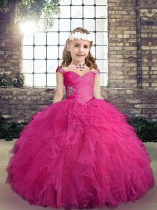 Trendy Tulle Straps Sleeveless Lace Up Beading and Ruffles Pageant Dress in Fuchsia