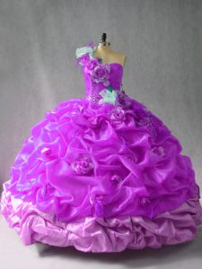Sleeveless Floor Length Pick Ups and Hand Made Flower Lace Up Quinceanera Gowns with Purple