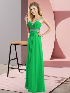 Straps Sleeveless Chiffon Evening Dress Beading Criss Cross