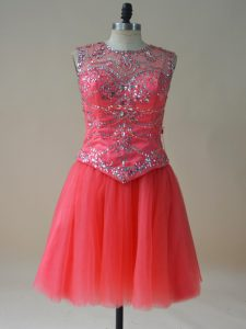 Fashionable Sleeveless Tulle Mini Length Lace Up Cocktail Dresses in Coral Red with Beading