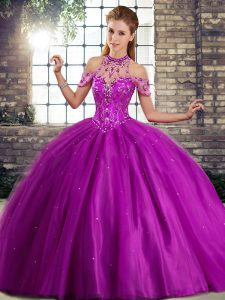 Purple Ball Gowns Beading Sweet 16 Dresses Lace Up Tulle Sleeveless
