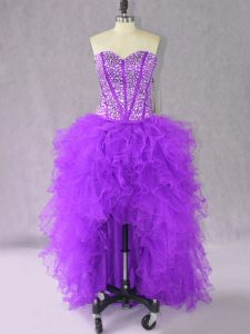 Inexpensive Sleeveless Organza High Low Lace Up Prom Evening Gown in Purple with Beading and Ruffles