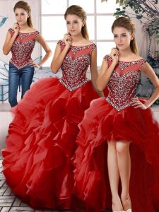 High End Sleeveless Floor Length Beading and Ruffles Zipper Sweet 16 Quinceanera Dress with Red