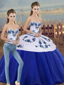 Vintage Floor Length Two Pieces Sleeveless Royal Blue Sweet 16 Dress Lace Up