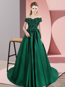 Stylish Green Zipper Quinceanera Dress Lace Sleeveless Court Train
