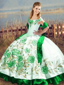Sweet Green Ball Gowns Satin and Organza Off The Shoulder Sleeveless Embroidery Floor Length Lace Up Sweet 16 Dresses
