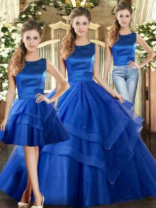 Scoop Sleeveless Lace Up 15 Quinceanera Dress Royal Blue Tulle