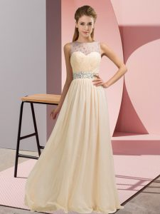 Floor Length Champagne Prom Evening Gown Chiffon Sleeveless Beading