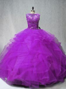 Captivating Purple Quince Ball Gowns Scoop Sleeveless Brush Train Lace Up