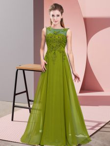 Olive Green Empire Chiffon Scoop Sleeveless Beading and Appliques Floor Length Zipper Dama Dress