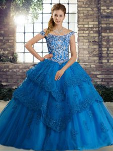 Inexpensive Blue Ball Gowns Beading and Lace Quinceanera Dress Lace Up Tulle Sleeveless