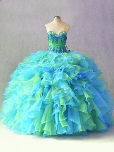 Artistic Sleeveless Lace Up Floor Length Beading and Ruffles Ball Gown Prom Dress