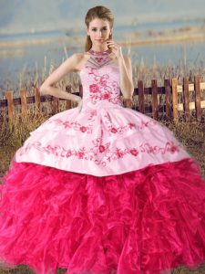 Court Train Ball Gowns Ball Gown Prom Dress Hot Pink Halter Top Organza Sleeveless Lace Up