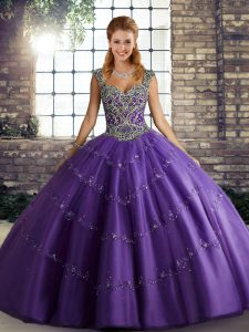 Glorious Beading and Appliques 15th Birthday Dress Purple Lace Up Sleeveless Floor Length