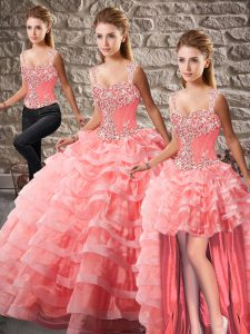 Vintage Watermelon Red Organza Lace Up Straps Sleeveless 15 Quinceanera Dress Court Train Beading and Ruffled Layers