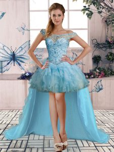 Light Blue Lace Up Beading and Ruffles Sleeveless High Low