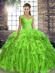 Off The Shoulder Sleeveless Brush Train Lace Up Quinceanera Gowns Organza
