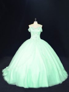 New Style Apple Green Ball Gowns Tulle Off The Shoulder Sleeveless Beading Lace Up Quinceanera Dress Court Train