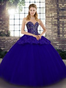 Simple Sleeveless Floor Length Beading and Appliques Lace Up Quinceanera Gown with Blue