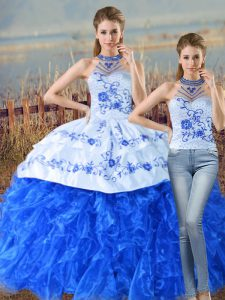 Top Selling Sleeveless Organza Court Train Lace Up Sweet 16 Quinceanera Dress in Blue And White with Embroidery and Ruffles