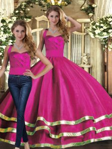 Trendy Floor Length Fuchsia Ball Gown Prom Dress Halter Top Sleeveless Lace Up