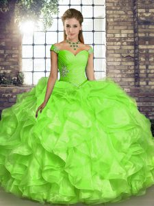 Trendy Off The Shoulder Sleeveless Sweet 16 Dresses Floor Length Beading and Ruffles Yellow Green Organza