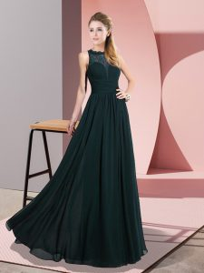 Enchanting Scoop Sleeveless Hoco Dress Floor Length Lace Green Chiffon