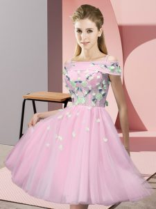 Clearance Off The Shoulder Short Sleeves Dama Dress for Quinceanera Knee Length Appliques Baby Pink Tulle