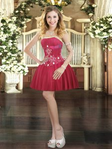 Sleeveless Beading Lace Up Celebrity Prom Dress