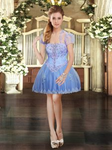 Luxurious Mini Length Lavender Cocktail Dresses Strapless Sleeveless Lace Up
