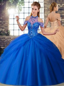 Suitable Blue Tulle Lace Up Quinceanera Gowns Sleeveless Brush Train Beading and Pick Ups