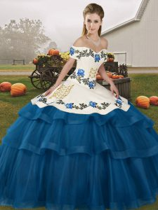 Blue Sweet 16 Dresses Off The Shoulder Sleeveless Brush Train Lace Up