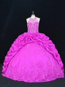 Gorgeous Sleeveless Beading and Appliques and Pick Ups Lace Up 15th Birthday Dress