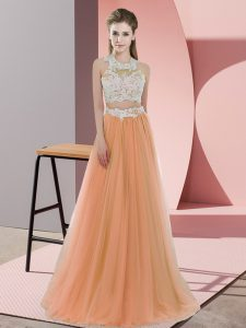 Beauteous Orange Two Pieces Lace Dama Dress for Quinceanera Zipper Tulle Sleeveless Floor Length