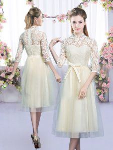 Custom Made Half Sleeves Tulle Tea Length Zipper Vestidos de Damas in Champagne with Lace and Bowknot