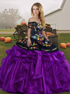 Captivating Off The Shoulder Sleeveless Lace Up Quinceanera Gowns Black And Purple Organza