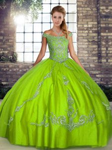 New Arrival Sleeveless Floor Length Beading and Embroidery Lace Up Quinceanera Gowns with Green