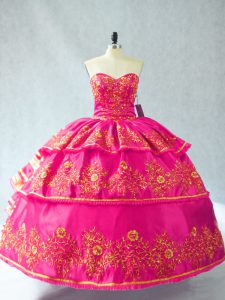 Fashion Hot Pink Sweetheart Lace Up Embroidery and Ruffled Layers Quinceanera Gowns Sleeveless
