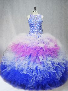 Inexpensive Multi-color Ball Gowns Beading and Ruffles Quince Ball Gowns Zipper Tulle Sleeveless