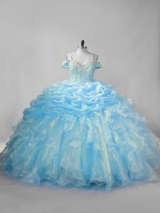 Pretty Ball Gowns Sleeveless Baby Blue Vestidos de Quinceanera Brush Train Lace Up