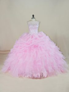 Pink Ball Gowns Beading and Ruffles Sweet 16 Dress Backless Organza Sleeveless