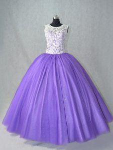 Hot Sale Lavender Tulle Lace Up Quinceanera Dress Sleeveless Floor Length Lace