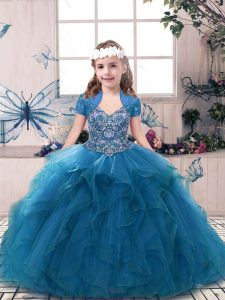 High End Blue Straps Lace Up Beading and Ruffles High School Pageant Dress Sleeveless