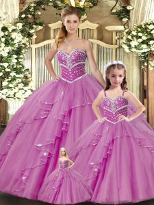 Lilac Sweetheart Neckline Beading 15 Quinceanera Dress Sleeveless Lace Up